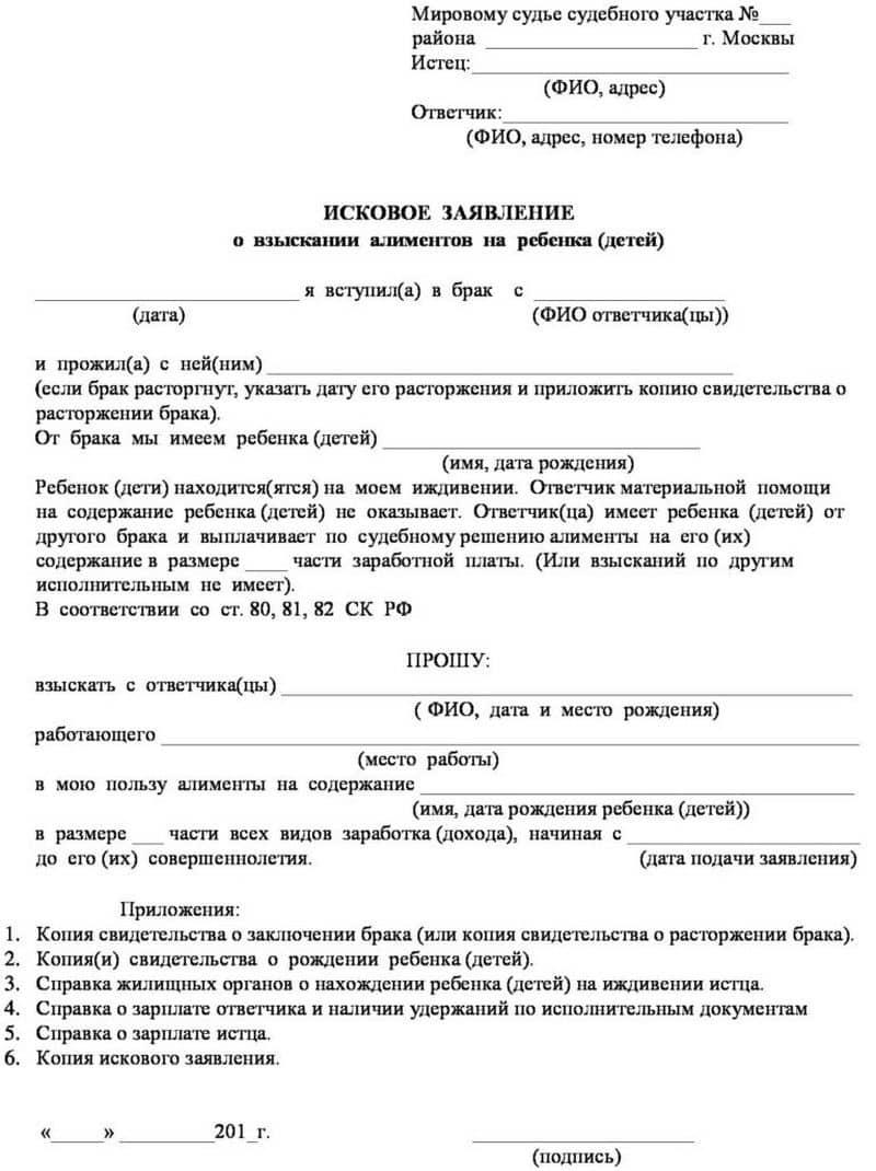 Заявление на взыскание алиментов в браке: куда подавать, содержание и сопроводительные документы